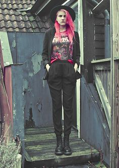 H&M Hat, H&M Jacket, Librastyle Tee, Missguided Chiffon Trousers, Dr. Martens Boots