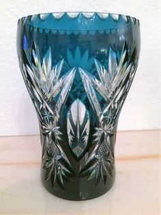 Val St Lambert - Rince Raisins en cristal doublé bleu-pétrole - Catalogue 1908.