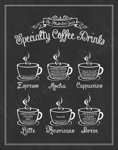 Specialty Coffee Drinks: An Illustrated Guide print - Chalkboard, Sign, Coffee Shop Art, Guide To Coffee, Coffee Lover Gift - Coffee Cabin - coffee Recipes Coffee Facts, Coffee Quotes, Coffee Corner, Coffee Time, Menue Design, Specialty Coffee Drinks, Café Chocolate, Kitchen Prints, Coffee Beans