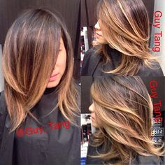 I cut off more than 9 inches of my client May's hair! Gave her cut internal shaping and textured ends! She wanted a short messy long bob look that @kyliejenner sports! But I want to color it my way! Messy hair is sexy and short hair is sexy too #guytang #guy_tang  #ombre  #balayage #shorthair #kyliejenner #longbob