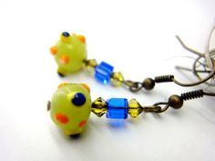 Fun vibrant lime green blue orange dots octopus crystals earrings | LittleApples - Jewelry on ArtFire