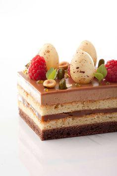 Frank Haasnoot Just my guess: chocolate cake, almond & pistachio cake, caramelized white chocolate or caramel, gianduja mouse, caramel glaze