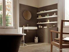 Mooie versie houtlook tegels in de badkamer. Ook verkrijgbaar voor aan de wand.