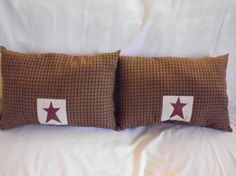 Appliqued Primitive Barn Star Throw Pillows  2 by phyllissexton, $14.00