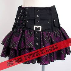 Cute Purple Plaid Gothic Lolita Punk Corset Micro Mini Skirts Clothing