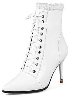 cc947dbedb23 IDIFU Womens Elegant Pointed Toe Zip Up High Stiletto Heel Ankle Boots  White 11 BM US