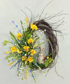 Spring Oval Birch Wreath With Bunny Sunflowers And Daisies, Teal Flowers, Turquoise Wreath, Easter Flower Arrangements, Crooked Tree, Summer Wreath, Spring Wreaths, Easter Wreaths, Grapevine Wreath