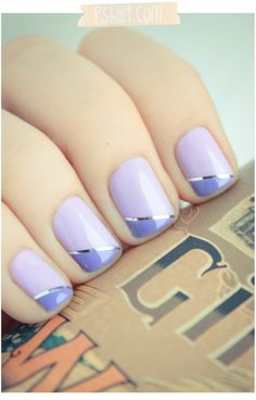Cool take on a french manicure..could do holiday colors