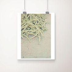vegetable photograph, green bean, vegetable, market, mint, green, kitchen wall art, food photography, market, france, french decor