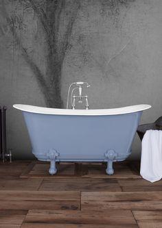 The Classic Mon Empire in F&B Lulworth Blue Cast Iron Bath, Copper Bath, Roll Top Bath, May Designs, Clawfoot Bathtub, Bathroom Accessories, Empire, Traditional