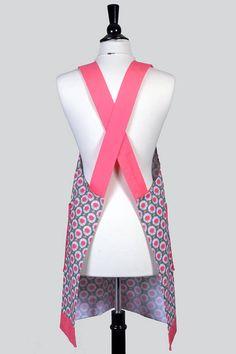 Japanese Crossback Apron Flamingo Pink Gray Daisy Womens Retro