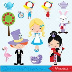 Our Alice in Wonderland clipart set comes with 19 unique clipart graphics including Alice, Queen of Hearts, Tweedle Dee and Tweedle Dum, White