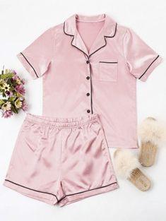 Buttoned Piping Pajama Set - Light Pink S Pijamas Women, Mode Kpop, Cute Sleepwear, Summer Pajamas, Matching Family Pajamas, Pajama Outfits, Girl Fashion, Fashion Outfits, Trendy Fashion