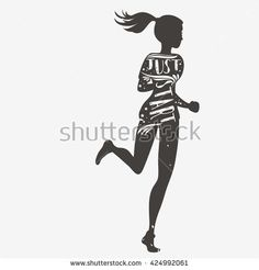 Just start. Running girl. Motivational and inspirational illustration. Lettering. Sport/Fitness typographic poster.