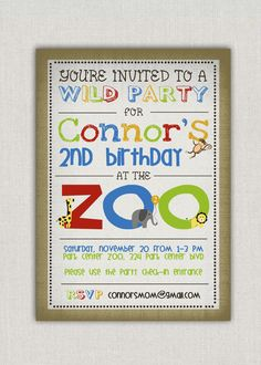 Zoo birthday party invitation modern photo 1500 via etsy zoo birthday party invitation modern photo 1500 via etsy parties pinterest zoo birthday birthday party invitations and zoo birthday parties stopboris Choice Image