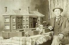 RARE black & white photo from 1903 featuring a gentleman with a miniature architectural creation! #‎Miniatures‬ have excited and delighted the senses for centuries and continue to do so today! (via ebay). ‪Happy #‎MiniMonday‬!