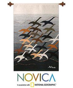 @Overstock - 'Flying High' Wool Tapestry (Peru) - A flock of birds flies high above Andean peaks in an original composition by Nilda AmaroShe dyes the wool with natural pigments before weaving the piece on a handloom, in a style unique to San Pedro de las Cajas    http://www.overstock.com/Worldstock-Fair-Trade/Flying-High-Wool-Tapestry-Peru/3067415/product.html?CID=214117  $154.99