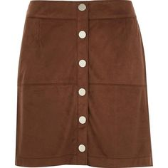 River Island Brown faux-suede button up A-line skirt ($70) ❤ liked on Polyvore featuring skirts, river island, a line skirts, brown, women, button down skirt, faux suede skirt, button up skirt, knee length a line skirt and summer skirts