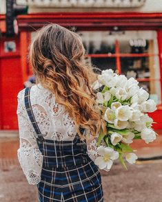 Spring blooms tulips Notting Hill london lace shirt wavy hair dreamy photography