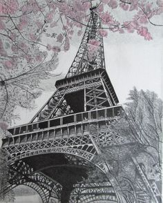 Paris Eiffel Tower Pencil Drawing on Canvas by LittleBitzOfArt, $200.00