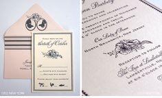 Custom wedding invitations by Ceci New York. #poppy #invitation #luxury #design #black #white #ivory #pink #envelopes