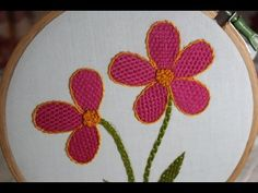 Projetos de bordado à mão - Ponto elegante - ponto e flor