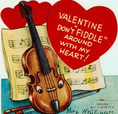 Vintage Valentine Card Fiddle Musical Instrument