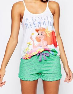 Buy Missimo Disney Im A Mermaid Pyjama Short Set at ASOS. Get the latest trends with ASOS now. Pijama Disney, Disney Merch, Disney Pajamas, Disney Inspired Outfits, Disney Outfits, Disney Style, Cute Outfits, Disney Clothes, Emo Outfits