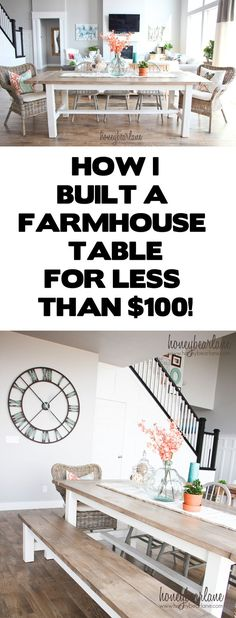 how I built a farmhouse table for less than $100 Dinning Room Table Diy, Diy Kitchen Tables, Pallet Dining Table, Dining Room Ideas On A Budget, Dining Table Decorations, Bench Seating Kitchen Table, Ikea Outdoor Table, Dining Room Clock, Wicker Dining Room Chairs