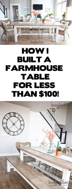 how I built a farmhouse table for less than $100