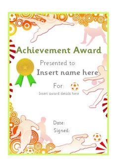 Editable football themed certificate. #teachingresources