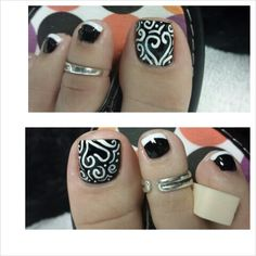 Pretty pedicure with black and white french and hand crafted nail art (white heart swirl design) ...www.annazjames.com