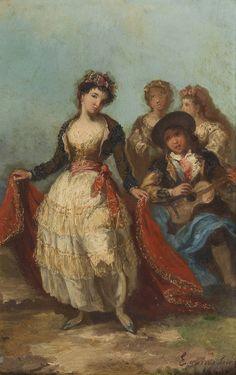 """""""Majo con la guitarra y maja bailando"""", Eugenio Lucas Velázquez (1843)"""