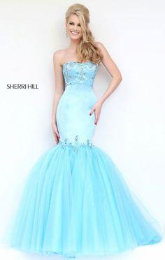 2016 Strapless Light Blue Sherri Hill 32152 Beaded Bodice Sheer Mermaid Gown