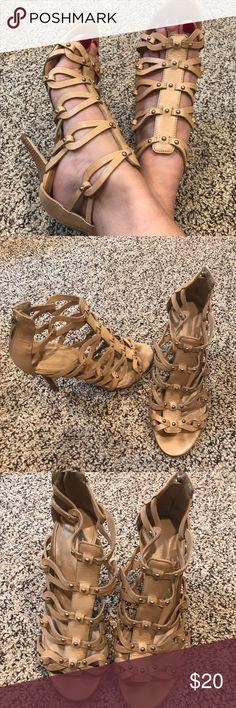 f5db7963661 Shop Women s Ivanka Trump Tan Cream size 5 Heels at a discounted price at  Poshmark. Description  Ivanka Trump nude gladiator heels with gold stud  detail.