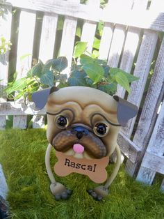 Personalized Pug Garden Planter with English Ivy- Garden Decor for the Pet Lover. $40.00, via Etsy.