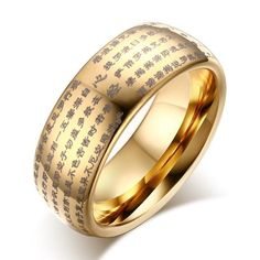 Buddhists Text Dome Wedding Bands