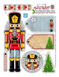 Hand drawn Nutcracker Christmas tree ornament and coordinating gift tags to help. Christmas Tree Clipart, Christmas Tree Ornaments, Christmas Holidays, Christmas Crafts, Christmas Decorations, Nutcracker Crafts, Nutcracker Christmas, Nutcracker Sweet, Nutcracker Ornaments