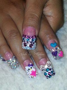 Hello kitty bling nails