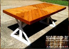 "8-Seater dining room table. A white ""farmstyle"" frame finished off with a mahogany stained, scattered inlay top. Affordable, custom built, wooden furniture. Designed by you, built by us. For more info, contact 0834376919 or naileditpallets@gmail.com #diningroomtable #diningtable #diningtables #diningroomfurniture #table #customtableideas #farmstyletable #customdiningroomtable #naileditwoodworxdurban #customfurnituredurban #custombuiltfurnituredurban #custombuiltfurniture…"
