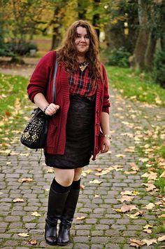 ThePlusSizeBlog.com - plus size outfit - burgundy cardigan, tartan shirt, black lace skirt and high black boots.