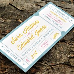 Concert or General Admission Ticket Wedding Invitation - 'Just the Ticket' Design - One Sample
