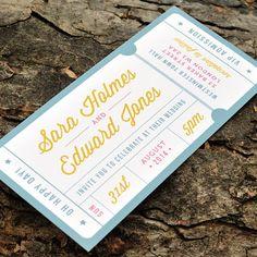 Concert or General Admission Ticket Wedding Invitation - 'Just the Ticket' Design - One Sample