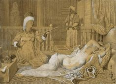 Odalisque with a Slave, 1858 (graphite & wash on paper heightened with white) by Jean Auguste Dominique Ingres Jacque Louis David, Nicolas Poussin, Hans Holbein The Younger, Auguste, Dominique, Art Database, Chiaroscuro, Art For Art Sake, Old Master