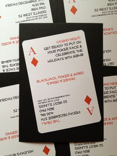 poker night (or 'get lucky' theme) party invitations
