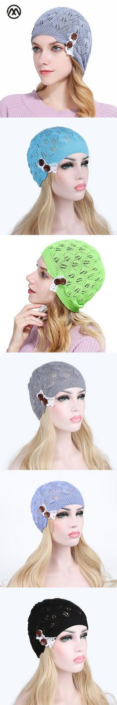 2017 New Warm Women knitted Cap Female Spring Autumn Winter Wool Hedging Cap Hollow Leaves Lace Buttons Touca Knitting Hat