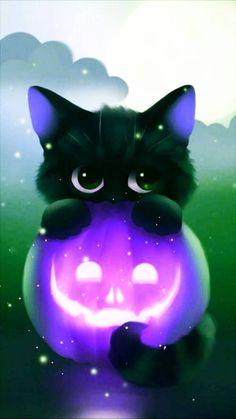 Purple pumpkin wallpaper by - - Free on ZEDGE™ Cute Animal Drawings Kawaii, Cute Cartoon Animals, Anime Animals, Cute Drawings, Cute Galaxy Wallpaper, Cute Cat Wallpaper, Animal Wallpaper, Purple Wallpaper Phone, Halloween Wallpaper