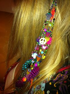 Feather Beaded Glitter Hair clip Grateful Dead Phish Dave Matthews Band Rolling Stones Janis Joplin - DIY