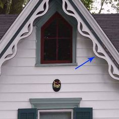A board attached to the edge of a gable roof. In house styles such as Gothic Revival and Tudor, bargeboards often bear intricate carvings or colorful painted details. Also called vergeboard or gableboard. Porch Trim, Roof Trim, Gable Trim, Gable Roof, Gothic Revival Architecture, Architecture Details, Style At Home, Gable Window, Victorian Homes