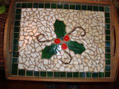 mosaic christmas tray on Etsy, $40.00
